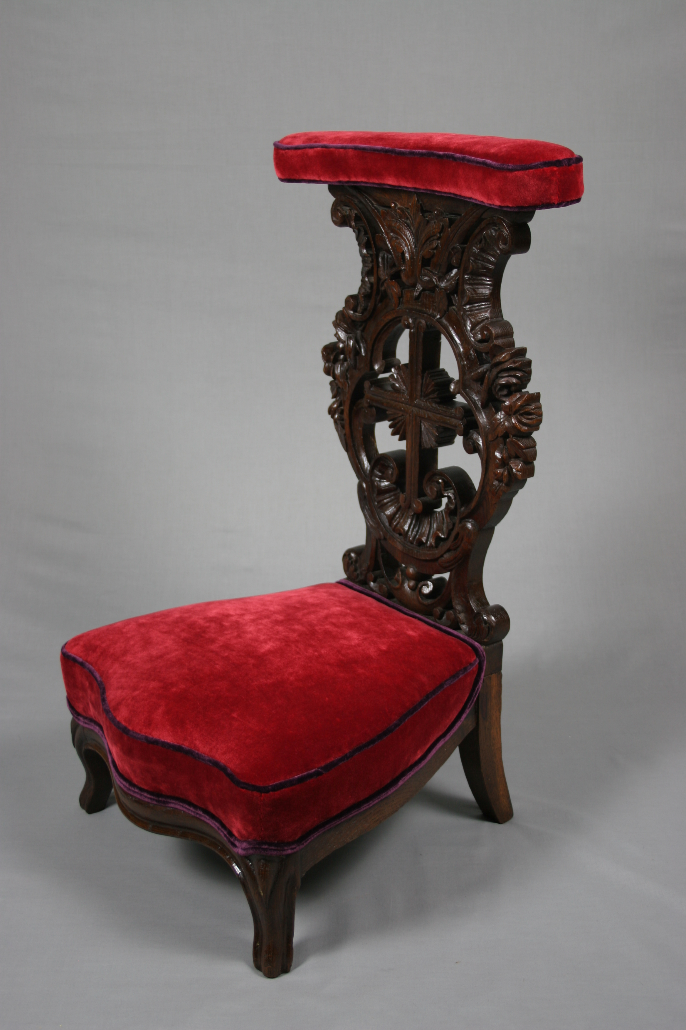 Upholstered French Chair Antique French XIX Century Oak Prie Dieu - Antique Chairs ...
