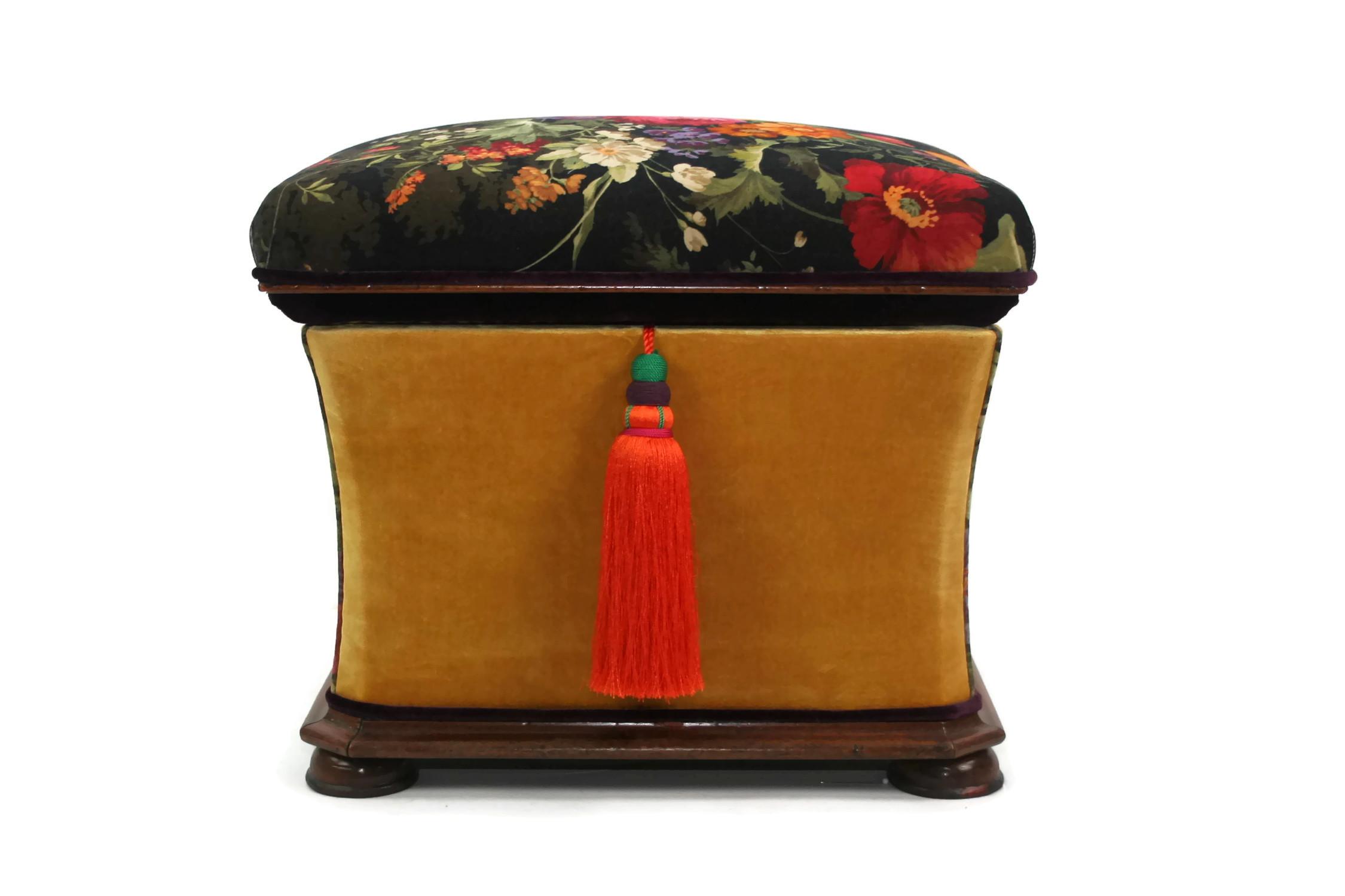 Ottomans Ornate Mahogany Ottoman: Victorian Hexagonal Mahogany Ottoman Box