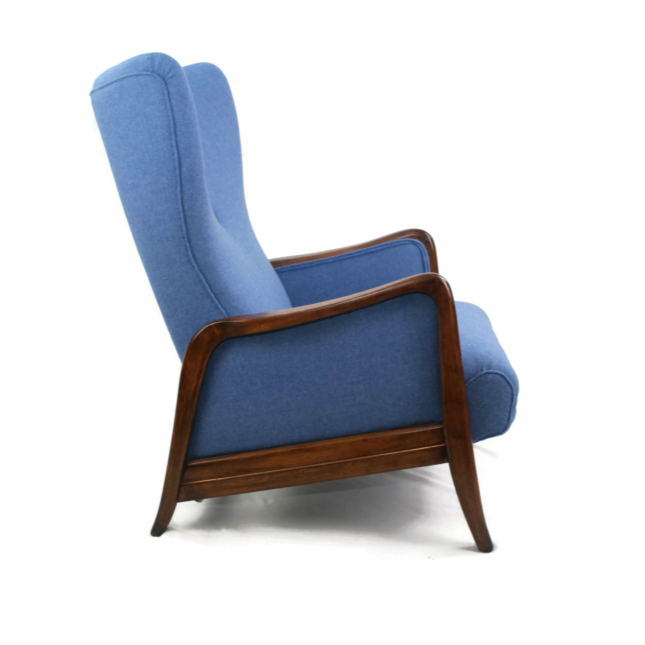 Mid Century German Wingback Recliner with a Footstool